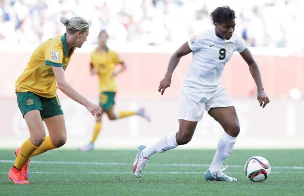 Desire Oparanozie of Nigeria in action during the Group D match between Australia and Nigeria of the FIFA Women's World Cup 2015 at Winnipeg Stadium on June 12, 2015 in Winnipeg, Canada. Image: Adam Pretty for FIFA via Getty.