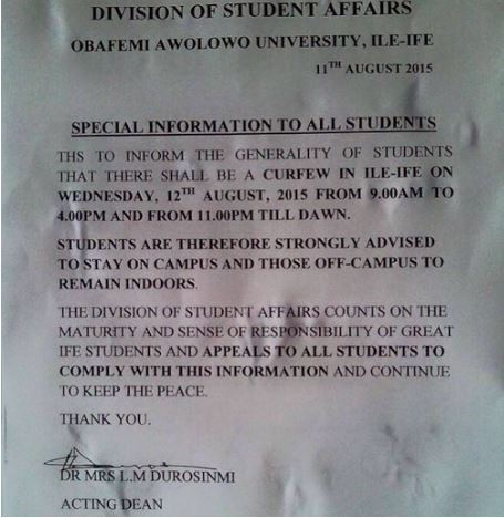 Students should remain on campus as Ife palace prepare to announce Ooni's death - OAU