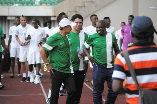Image result for pictures of Super eagles with coach
