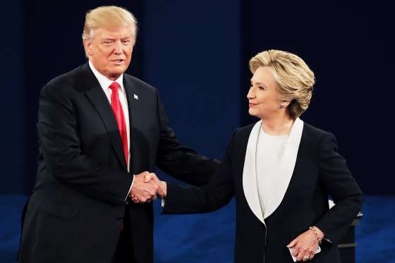 Trump and Clinton shake hands at second Presidential debate