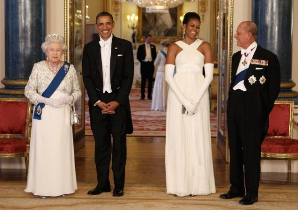 LONDON, ENGLAND - MAY 24:  (L-R)  Queen Elizabeth II poses with U.S. President Barack Obama, his wife Michelle Obama and Prince Philip, Duke of Edinburgh in the Music Room of Buckingham Palace ahead of a State Banquet on May 24, 2011 in London, England. The 44th President of the United States, Barack Obama, and his wife Michelle are in the UK for a two day State Visit at the invitation of HM Queen Elizabeth II. During the trip they will attend a state banquet at Buckingham Palace and the President will address both houses of parliament at Westminster Hall.  (Photo by Chris Jackson - WPA Pool/Getty Images)
