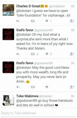 Toke Makinwa helps a follower cover the cost of his school handouts 4