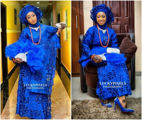 Checkout stunning photos of a Nigerian Muslim bride who paired her Hijab with gele