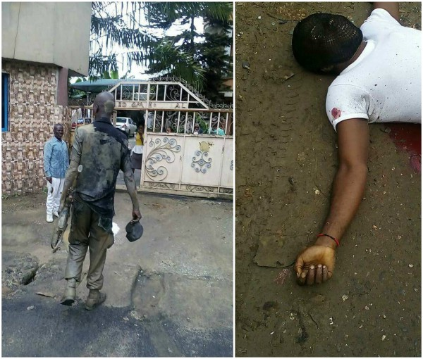 Security operative swims in gutter to kill armed robber in Port-Harcourt (Graphic photo)