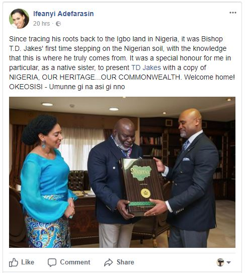 Do You Know Popular American Pastor T.D Jakes Is An Igbo Man?