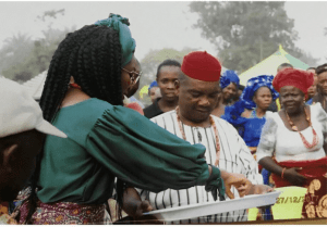 gv2 300x209 - Genevieve Nnaji pictured With Dad and mom In Imo State (Photographs)