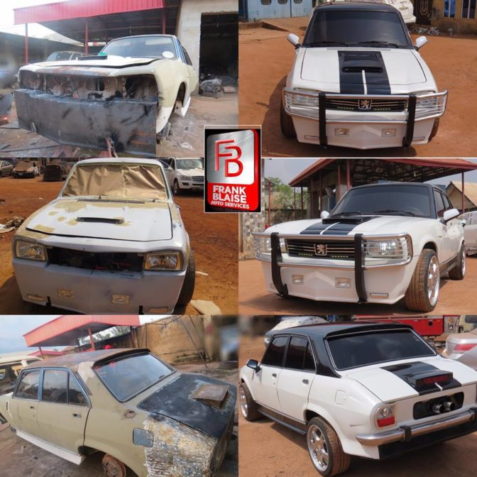 man transforms old and abandoned peugeot 504 car in enugu