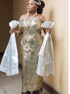 omawumi traditional 1 - First Photographs From Omawumi's Conventional Marriage ceremony To Tosin Yusuf In Warri