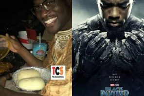 Man Spotted With Fufu And Soup At A Cinema To Watch 'Black Panther Movie'
