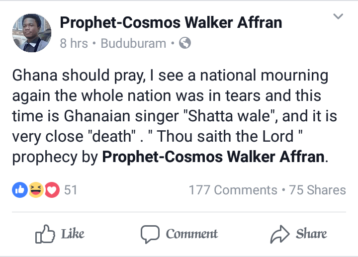 death is closing up on shatta wale ghanaian prophet declares lailasnews 2919801868 - Shatta Wale Singer Replies Prophet Who Predicted His Death