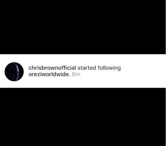 American Singer Chris Brown Follow Orezi On IG
