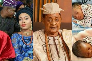 80-year old Alaafin of Oyo welcomes a set of twins with one of his young wives (PHOTOS)
