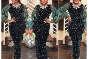 Check out Omotola's stunning look to Aliko Dangote's daughter's wedding