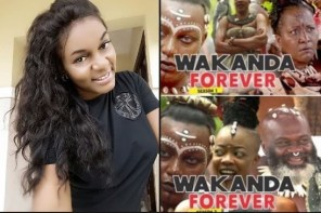 """Actress, Queen Nwokoye Reacts To Poster Of Her In Nigerian Remake Of """"Black Panther"""""""
