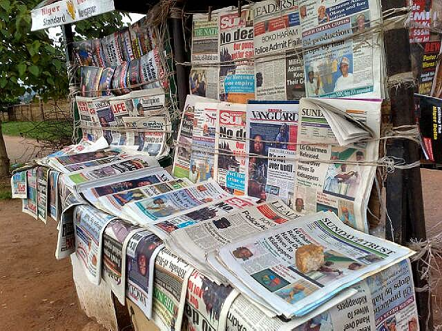 Newspaper stand 1 - Nigerian Newspaper Headlines Today: 8th April