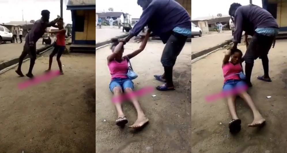 Man seen beating his girlfriend's friend for slandering him in Rivers State (Video)