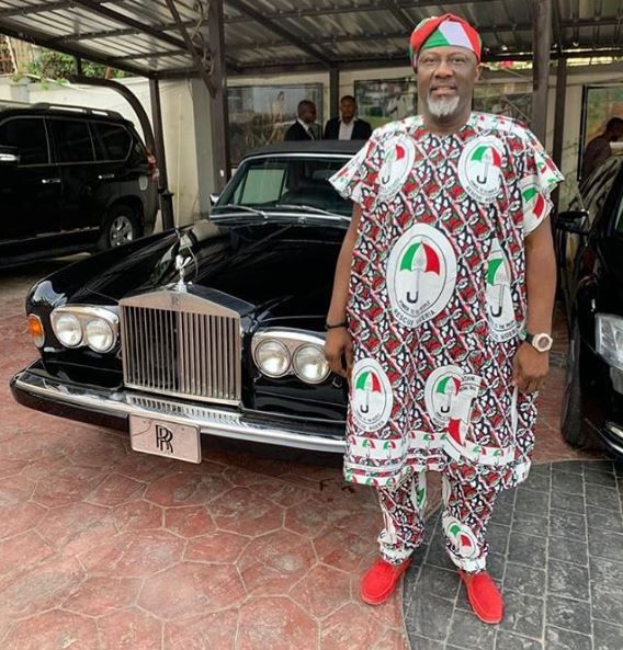 """dino melaye wears pdp agbada as he poses with his fleet of cars photo - """"The Election Is Not Between Atiku And Buhari, It Is Between Buhari And The Masses""""- Dino Melaye(Video)"""