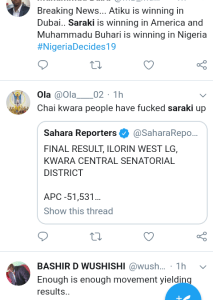 "Screenshot 20190224 2216522 - #Nigeria Decides: ""Saraki is Winning in Dubai"" – Nigerians React to Polls"