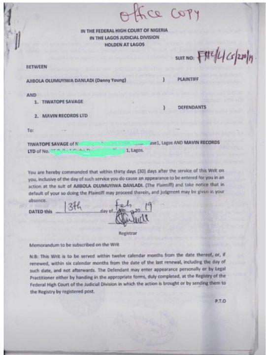 B36CFFF9 3DD0 4B5A 8D49 6DF1B9C2B818 - Danny Young slams Tiwa Savage with N200,000 lawsuit