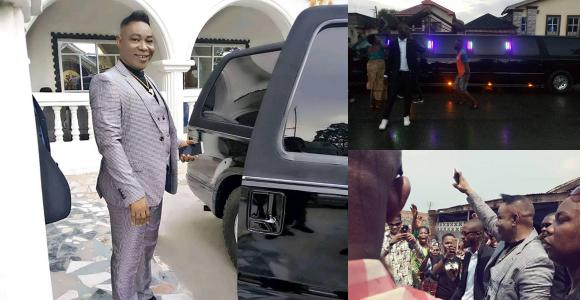 Pastor buys his third Hummer Limousine shows it off in Aba Video - Nigerian Pastor Shows Off His Third Hummer Limousine – Watch