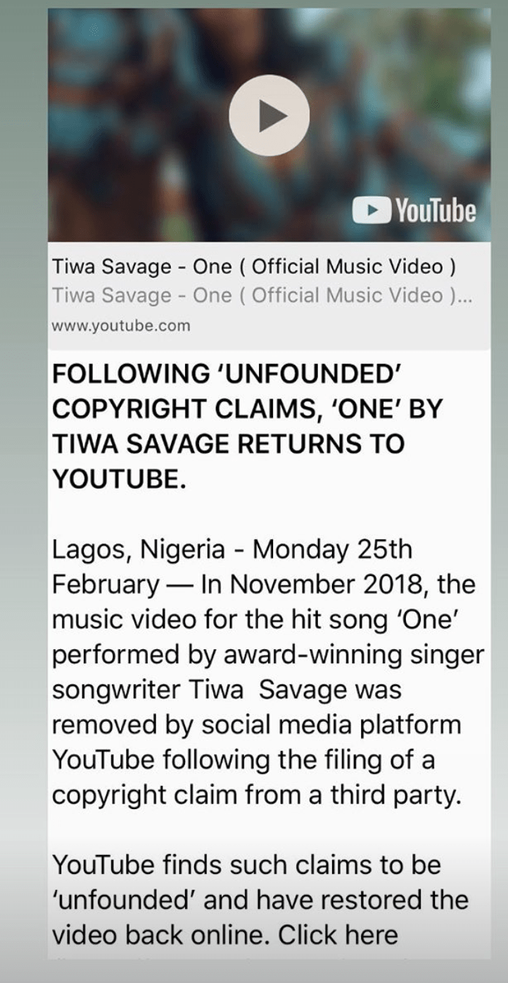 Screen Shot 2019 03 02 at 6.18.19 PM - Tiwa Savage 'One' Video returned on YouTube