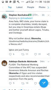 Screenshot 20190301 160812 - 'Welcome To Next level' – Nigerians React to Suspension Of Amosun and Okorocha