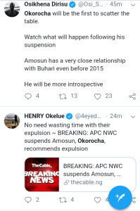 Screenshot 20190301 1608462 - 'Welcome To Next level' – Nigerians React to Suspension Of Amosun and Okorocha