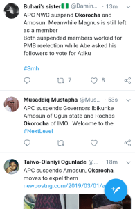Screenshot 20190301 1609312 - 'Welcome To Next level' – Nigerians React to Suspension Of Amosun and Okorocha