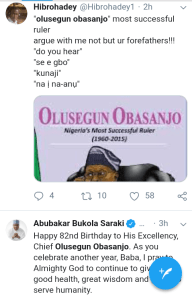 "Screenshot 20190305 1544322 - ""Chief Olusegun Obasanjo is Nigeria's most loved president till date"" – Nigerians celebrate Former president [See pictutes]"