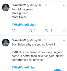 Screenshot 20190306 2006202 3 - Nigerians reveal reasons why they voted for President Buhari [See pictures]
