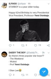 Screenshot 20190308 1208012 - 'Starboy is a year older' – Nigerians celebrate VP Yemi Osinbajo