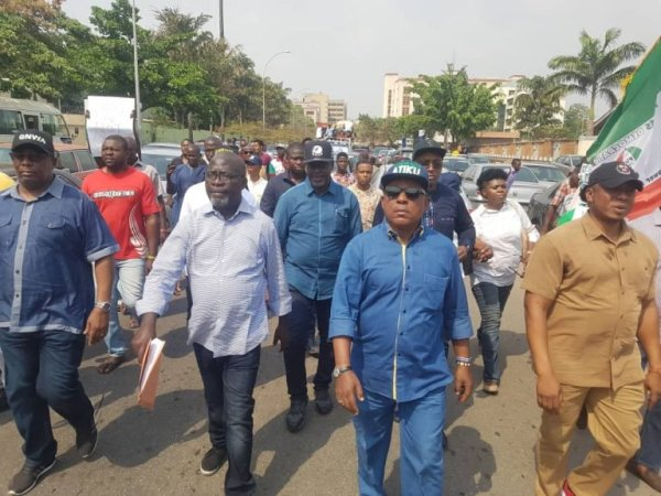 Secondus 768x576 - Video of Saraki, Secondus, Melaye, others marching to protest against Buhari's victory