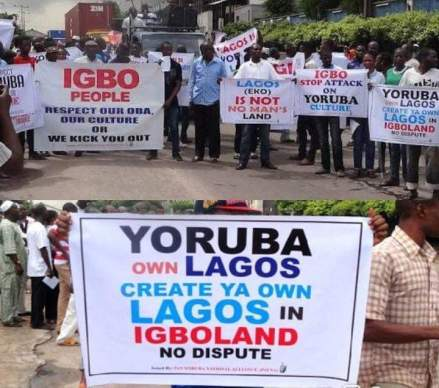 yoruba protesters in lagos - PHOTOS: Yoruba's Protest Against Igbo's In Lagos