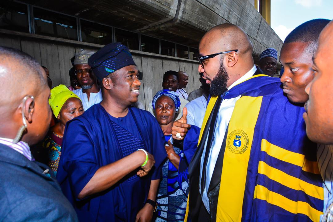 5ca8bc5a24266 2 - [Photos]: Five Star Music boss E-Money bags honorary Doctorate Degree