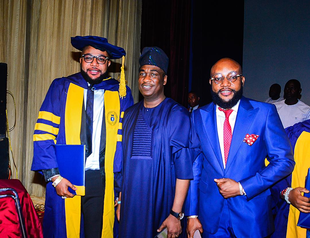 5ca8bc8d1cc5f 2 - [Photos]: Five Star Music boss E-Money bags honorary Doctorate Degree