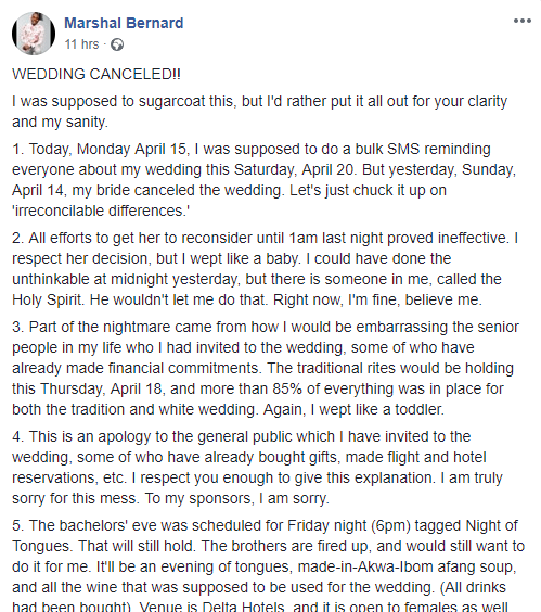 9191848 nigerianmanreactsafterhisbridecanceledtheirweddingunclesuru1 png2cabd68931e673170577fda3282c5c6a - Man Invites Ladies for Bachelors' Eve After Cancellation of Wedding
