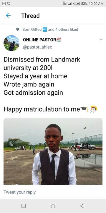9213519 screenshot20190419102021 jpeg71f8bdb6ea787066d971e255f2809571 - Twitter User Celebrates Matriculation into Same University After Expulsion