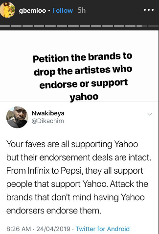 9247944 petitionbrandstodropartistessupportingyahoogbemilailasnews2 png04cbc02cfc4b7c9f8cebb1eacec24c71 - Petition Brands Sponsoring Artistes Supporting Yahoo – Gbemioo