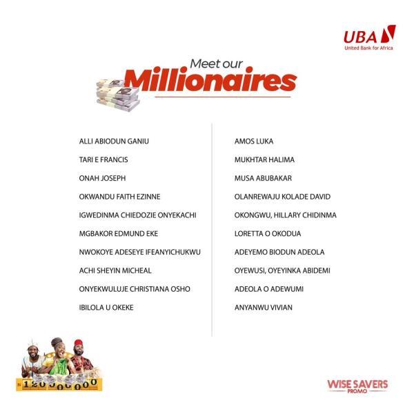 UBA Wise Savers winners 1 - 20 More Millionaires Win in the UBA Wise Savers Promo