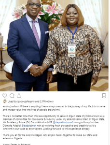 bad - Eniola Badmus Reacts To Her Political Appointment Under Ogun State Governor-Elect, Dapo Abiodun