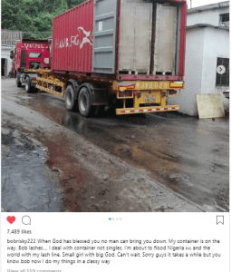 bo - Bobrisky Turns Importer & Exporter, Shares Pictures Of Container