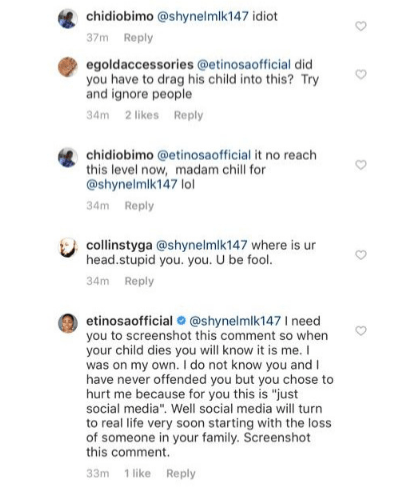 'Your child before this month ends' - Etinosa curses a troll on social media