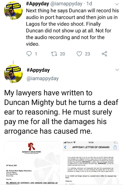 3 3 - Norway-based Artist, Appyday Reveals How Duncan Mighty Swindled Him of 1Million Naira