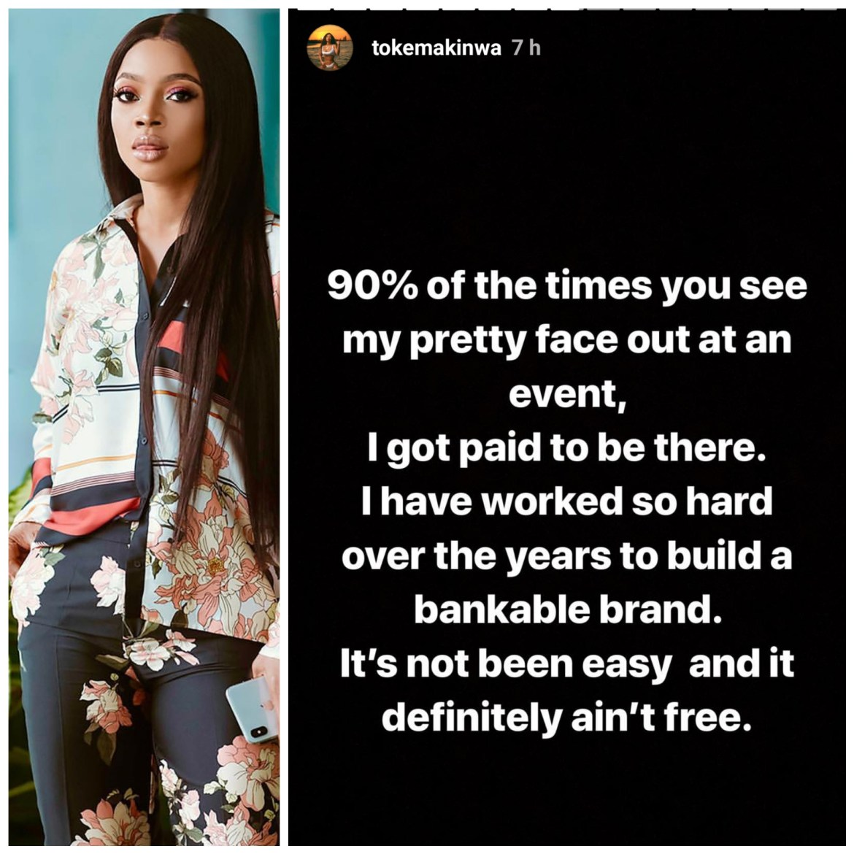 5cc9d8c1b091f - 'I get paid to take my pretty face to events' – Toke Makinwa brags