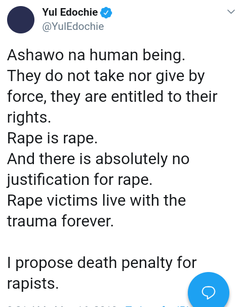 Screenshot 20190516 1446412 - 'Rapists Should Be Sentenced To Death' – Actor, Yul Edochie