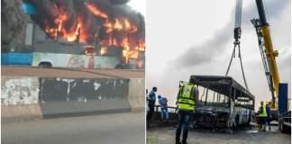 BRT Bus Goes Up In Flames On Third Mainland Bridge
