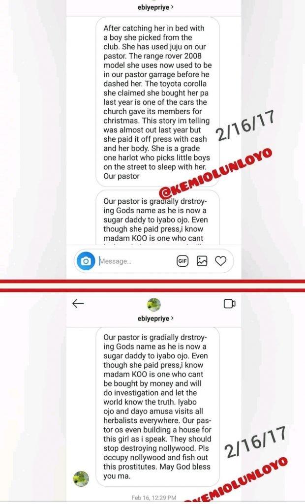 kemi olunloyo and iyabo ojo - [Photos]: Kemi Olunloyo leaks private chats which showed Iyabo Ojo was dating Pastor Ibiyeomie
