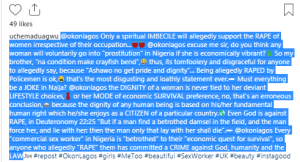"""okl - """"Only a spiritual IMBECILE will support the RAPE of women irrespective of their occupation"""" – Actor Slams Okon Lagos"""