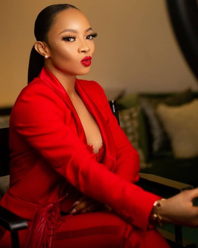 [Photos]: Toke Makinwa slays in red suit