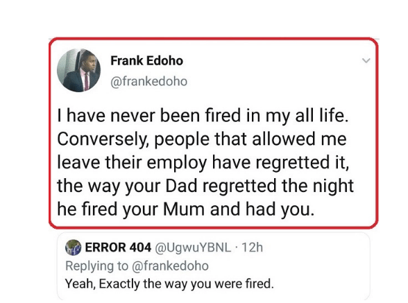 'Your Dad regretted the night he fired your Mum and had you' - Frank Edoho slams troll